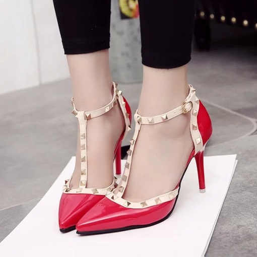 Ericdress Rivet T-Shaped Buckle Stiletto Heel Pumps
