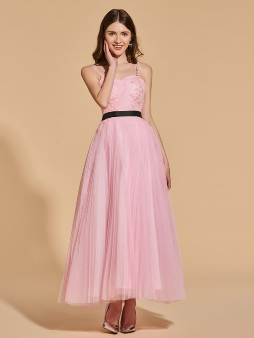 Ericdress A Line Straps Applique Beaded Ankle Length Prom Dress