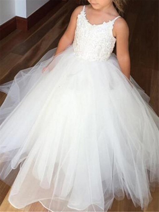 Ericdress Spaghetti Straps Appliques Ball Gown Flower Girl Dress