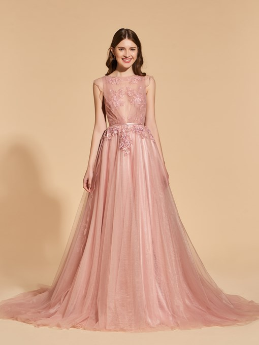 Ericdress A Line Cap Sleeve Applique Long Prom Dress