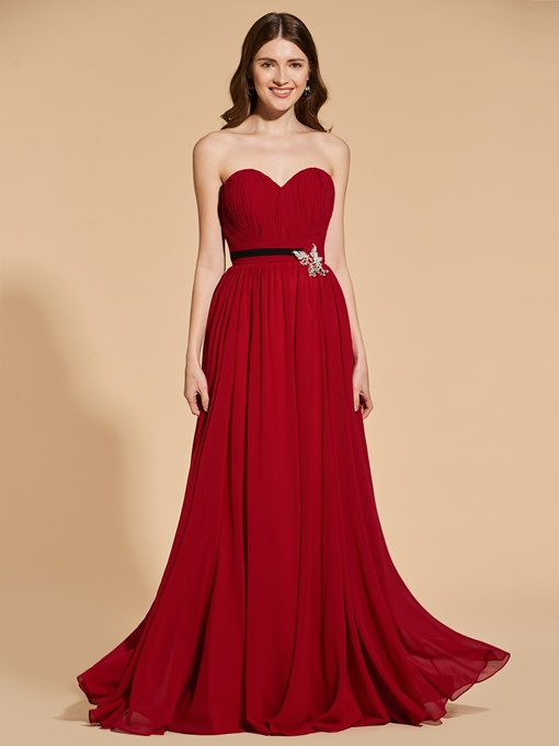 Ericdress Sweetheart Pleats A Line Long Prom Dress