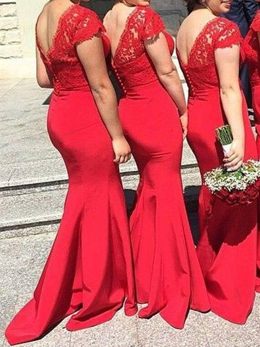 Ericdress V-Neck Lace Red Bridesmaid Dress
