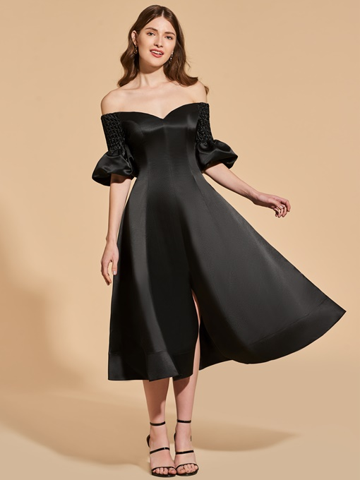 Ericdress A Line Off The Shoulder Black Cocktail Dress In Tea Length