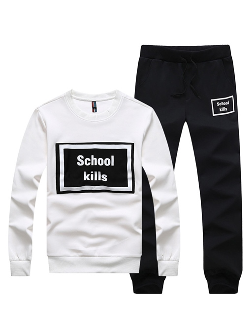 Ericdress Plain Letter Men's Sports Suit Hoodie Pants