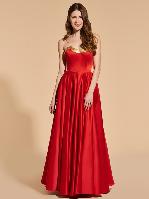 Ericdress A Line Strapless Red Long Prom Dress