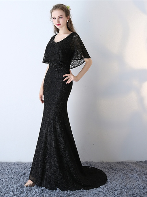 Ericdress Short Sleeve Long Lace Mermaid Black Prom Dress