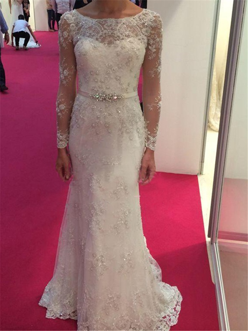 Ericdress Lace Sheath Beaded Long Sleeves Wedding Dress