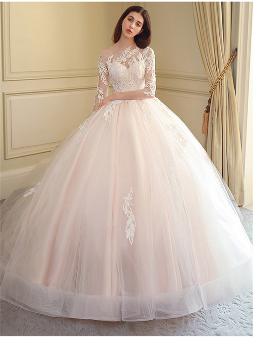 Ericdress Appliques 3/4 Sleeves Wedding Dress With Train