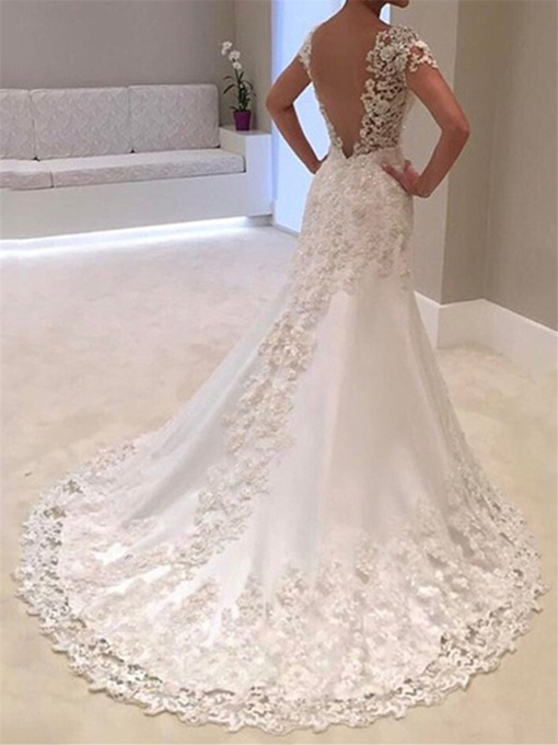Ericdress Backless Appliques Mermaid Wedding Dress