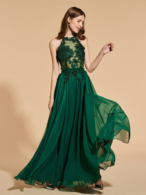 Ericdress A Line Halter Beading Appliques Prom Dress