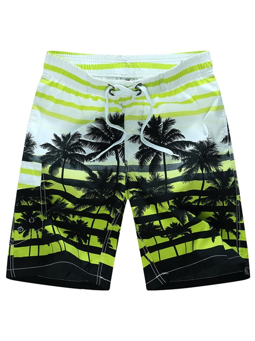 Ericdress Coconut Stripe Side Pocket Men's Beach Board Swim Trunks