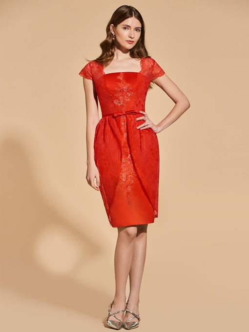 Ericdress Sheath Cap Sleeve Short Lace Cocktail Dress