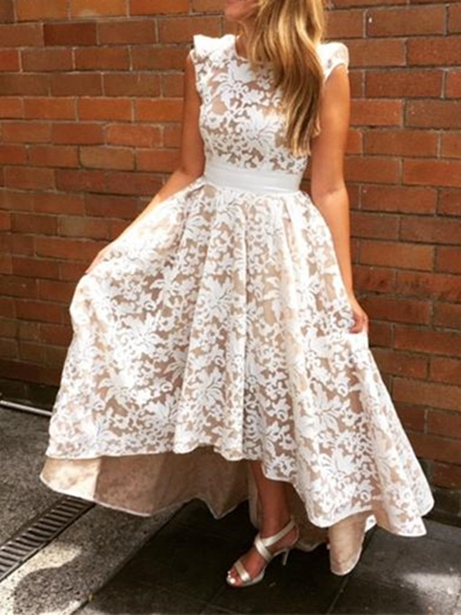 Ericdress Beautiful HIgh Low Backless Lace Bridesmaid Dress