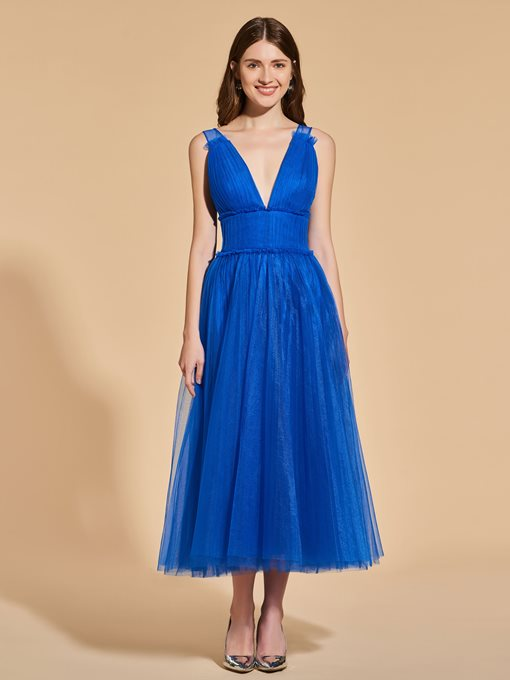 Ericdress A Line V Neck Backless Tea Length Prom Dress