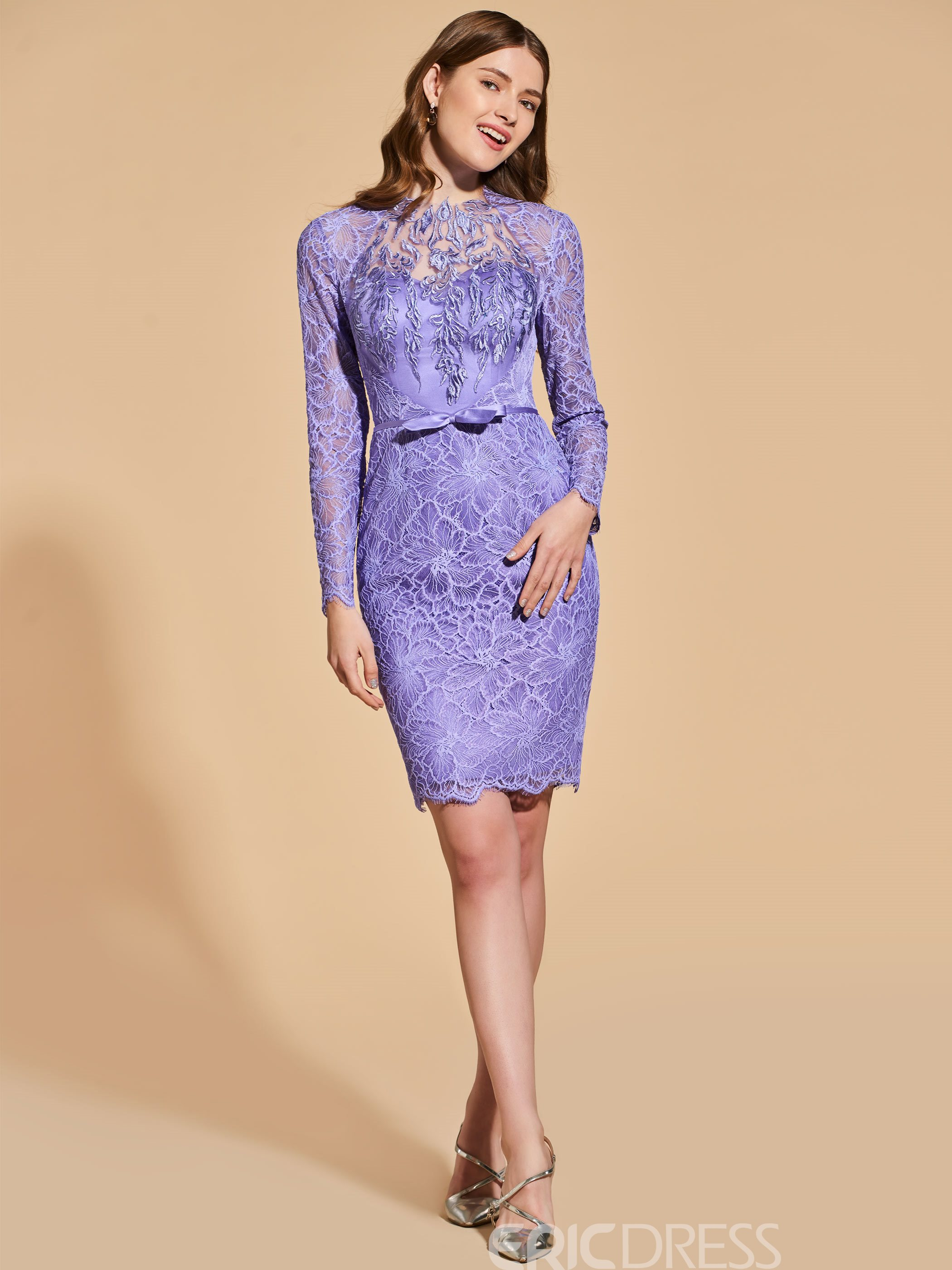 Ericdress Sheath Long Sleeve Lace Bodycon Homecoming Dress With Bowknot