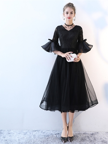 Ericdress A Line 3/4 Sleeve Lace Tea Length Lace Black Prom Dress