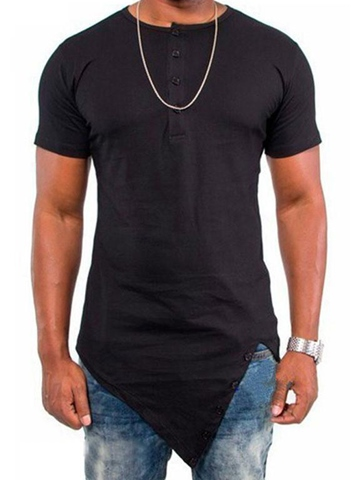 Ericdress Men's Plain Loose Scoop Asymmetric T Shirts