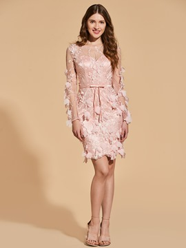 Ericdress Sheath Long Sleeve 3D Floral Bodycon Homecoming Dress