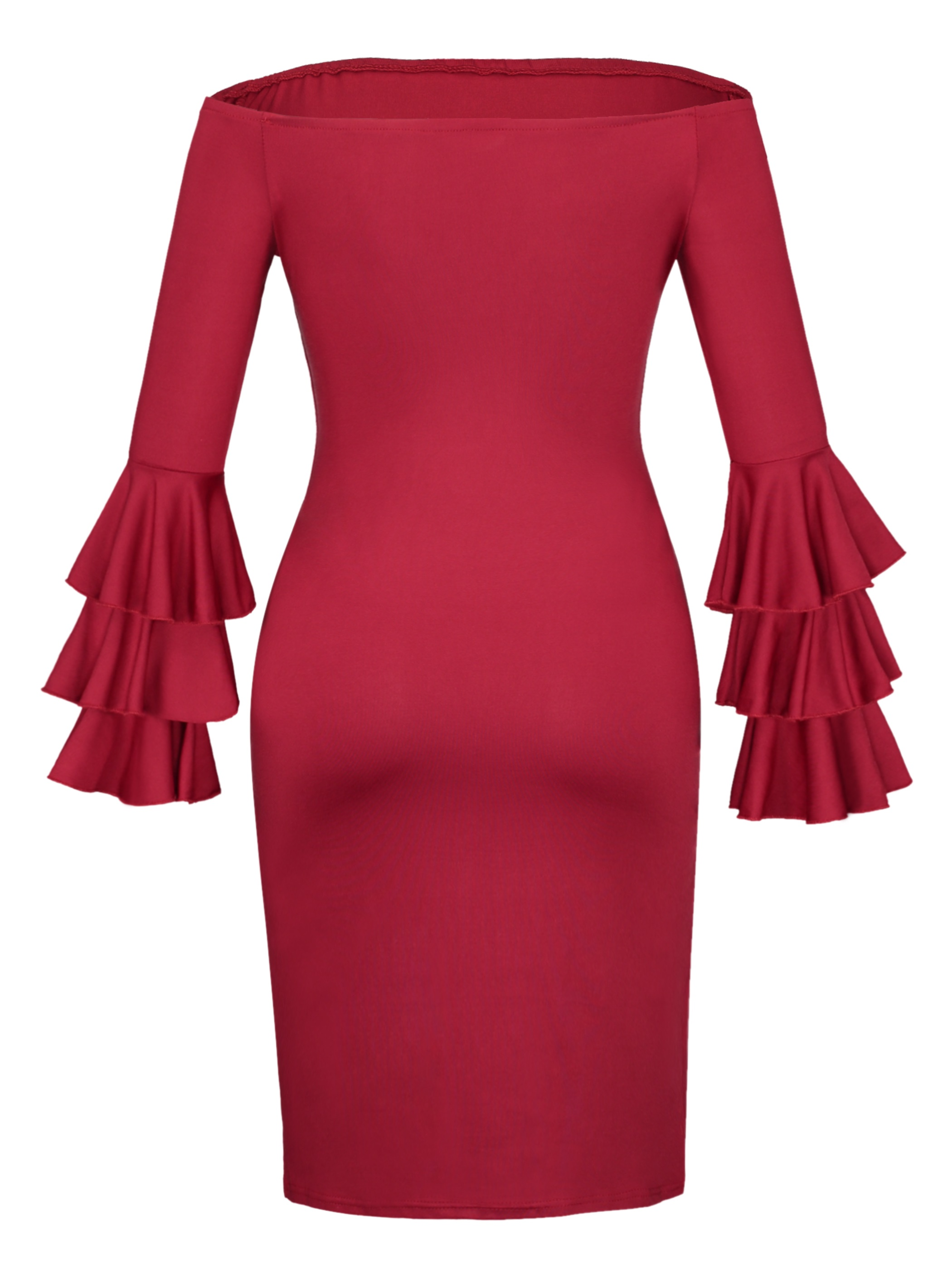 Ericdress Off-the-Shoulder Ruffle Sleeve Bodycon Dress
