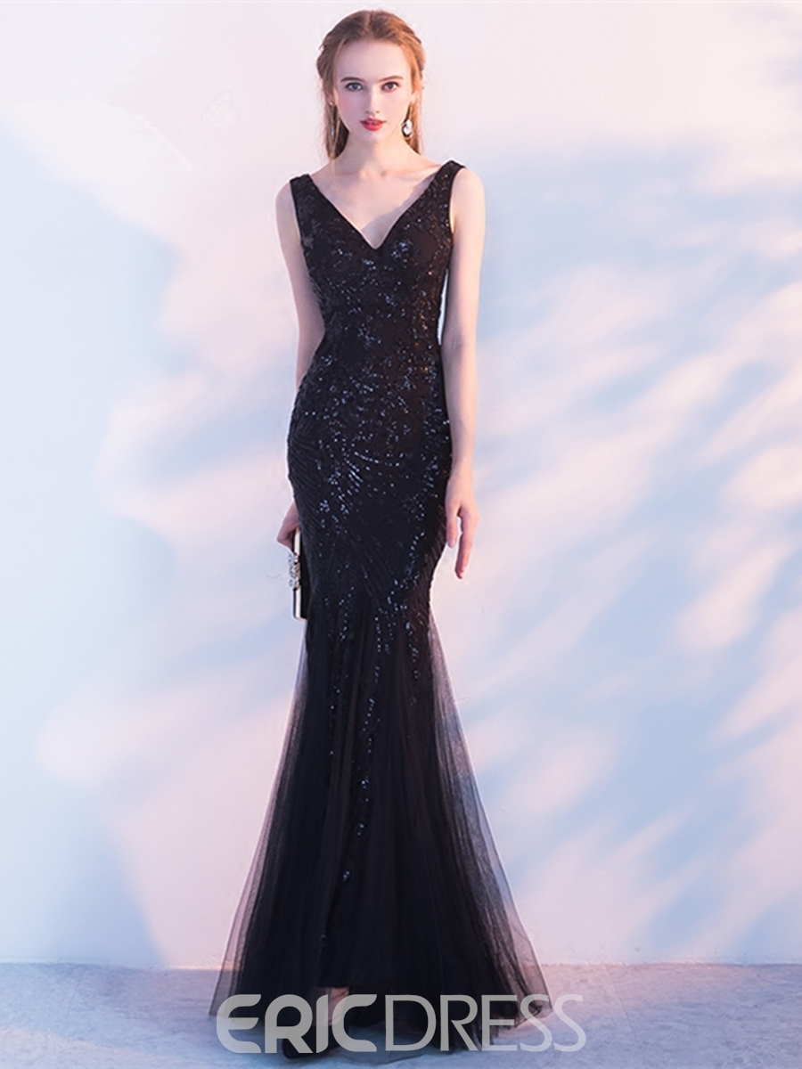 Ericdress Sheath Mermaid Sequin Black Evening Dress