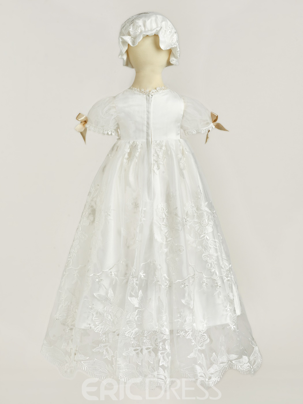 Ericdress Lace Bowknot Bonnet Baby Girl's Christening Gown with Sleeves