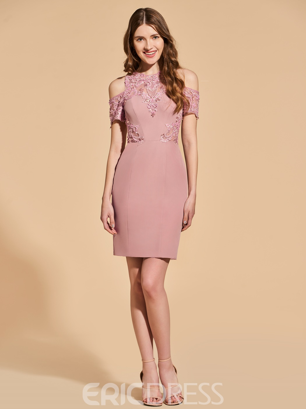 69c423aba04 Ericdress Sheath Cold Shoulder Short Sleeve Bodycon Homecoming Dress With  Applique(13163058)