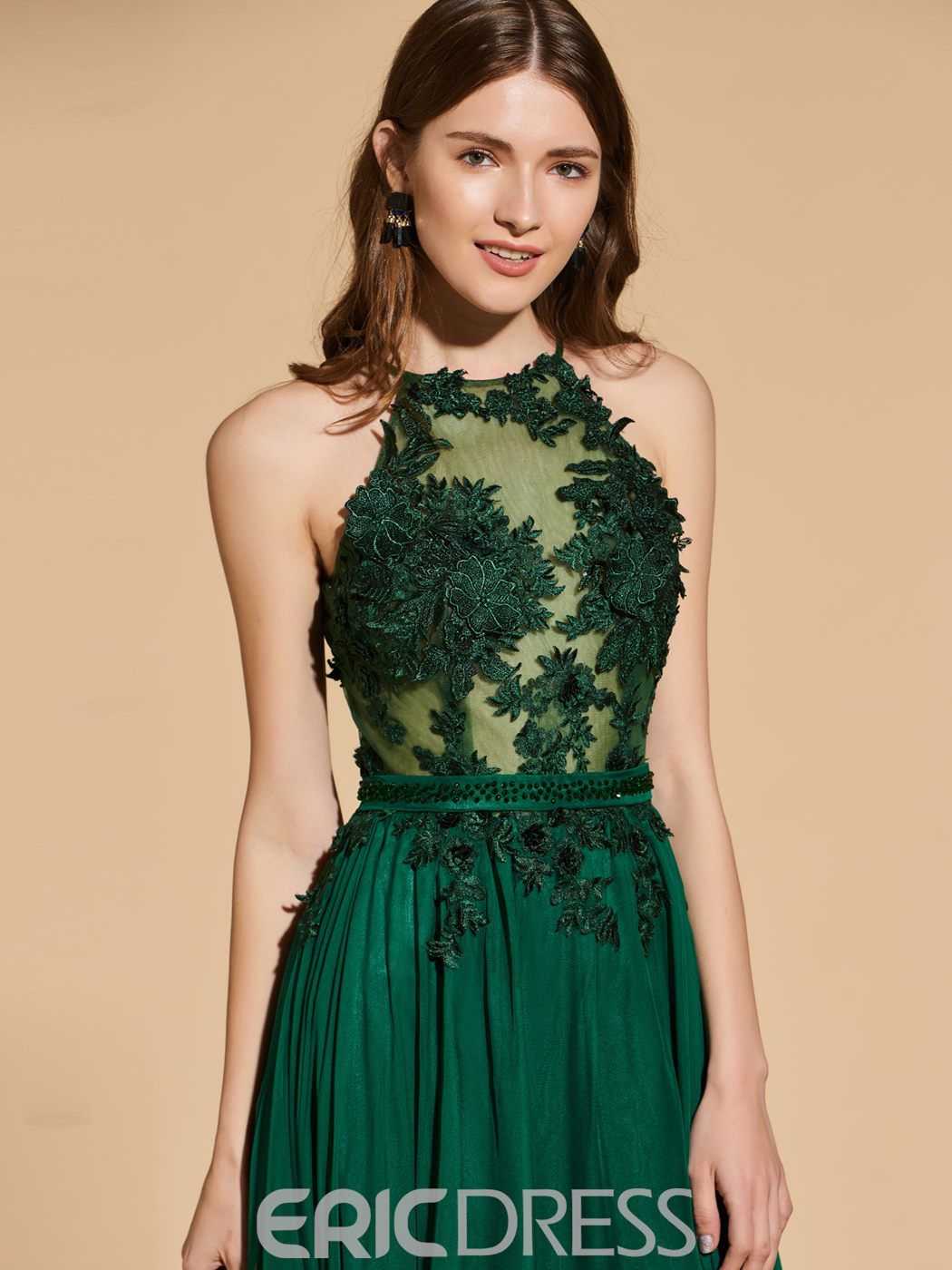 Ericdress A Line Halter Prom Dress With Applique