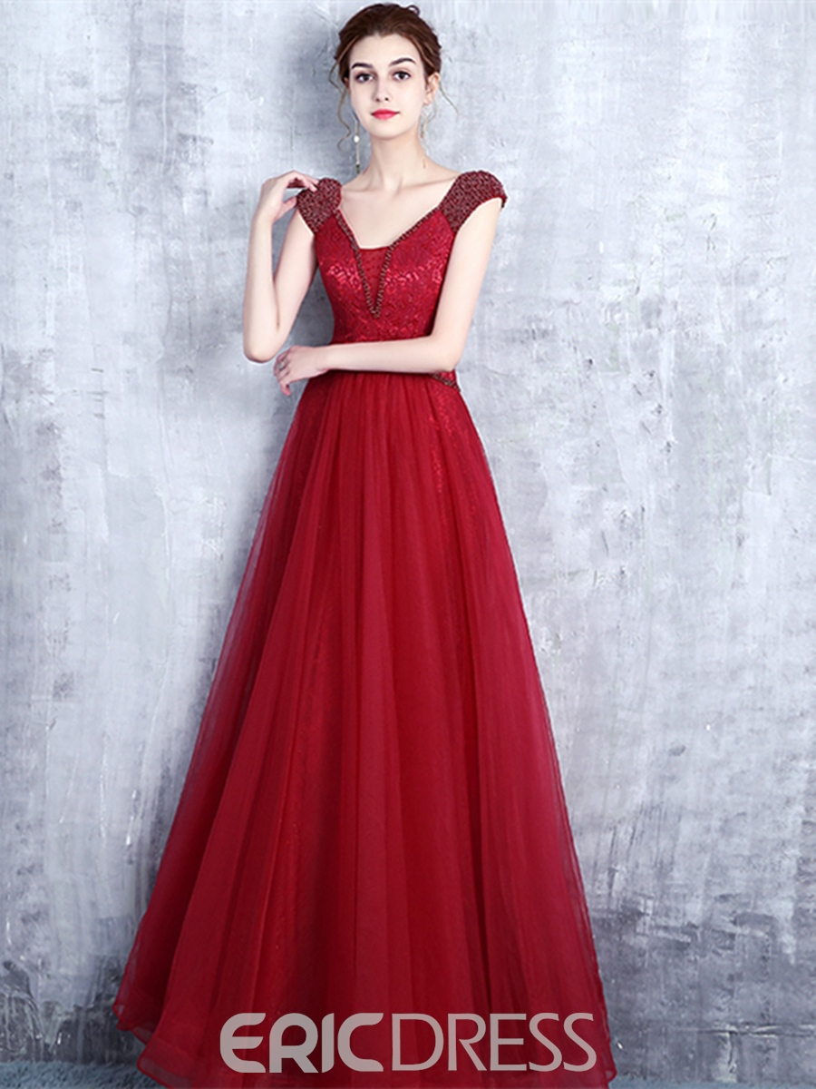 Ericdress A-Line Beading Bowknot Lace Prom Dress