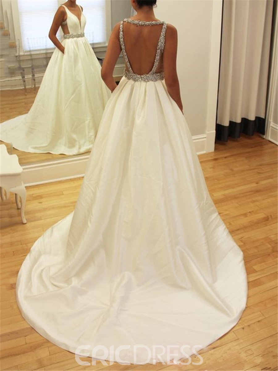 Ericdress Backless A-Line Matte Satin Wedding Dress 12791494 ...