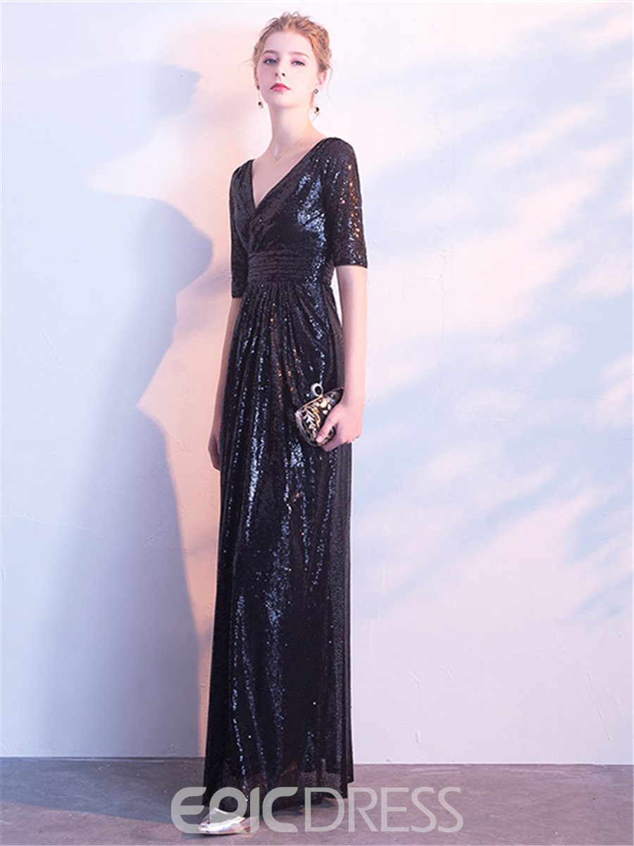Ericdress V Neck Sequin Half Sleeve Black Evening Dress