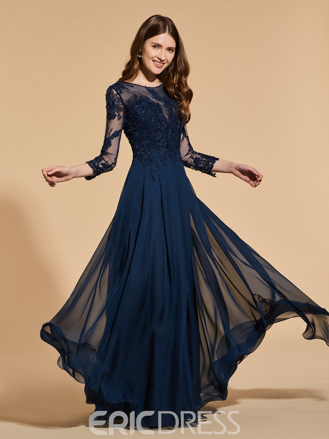 Ericdress A Line 3/4 Long Sleeve Dark Navy Prom Dress With Beadings