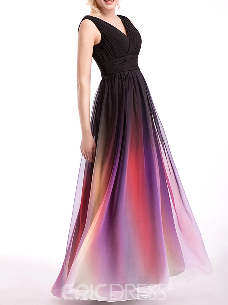 Ericdress Beautiful V Neck Long Printcloth Bridesmaid Dress