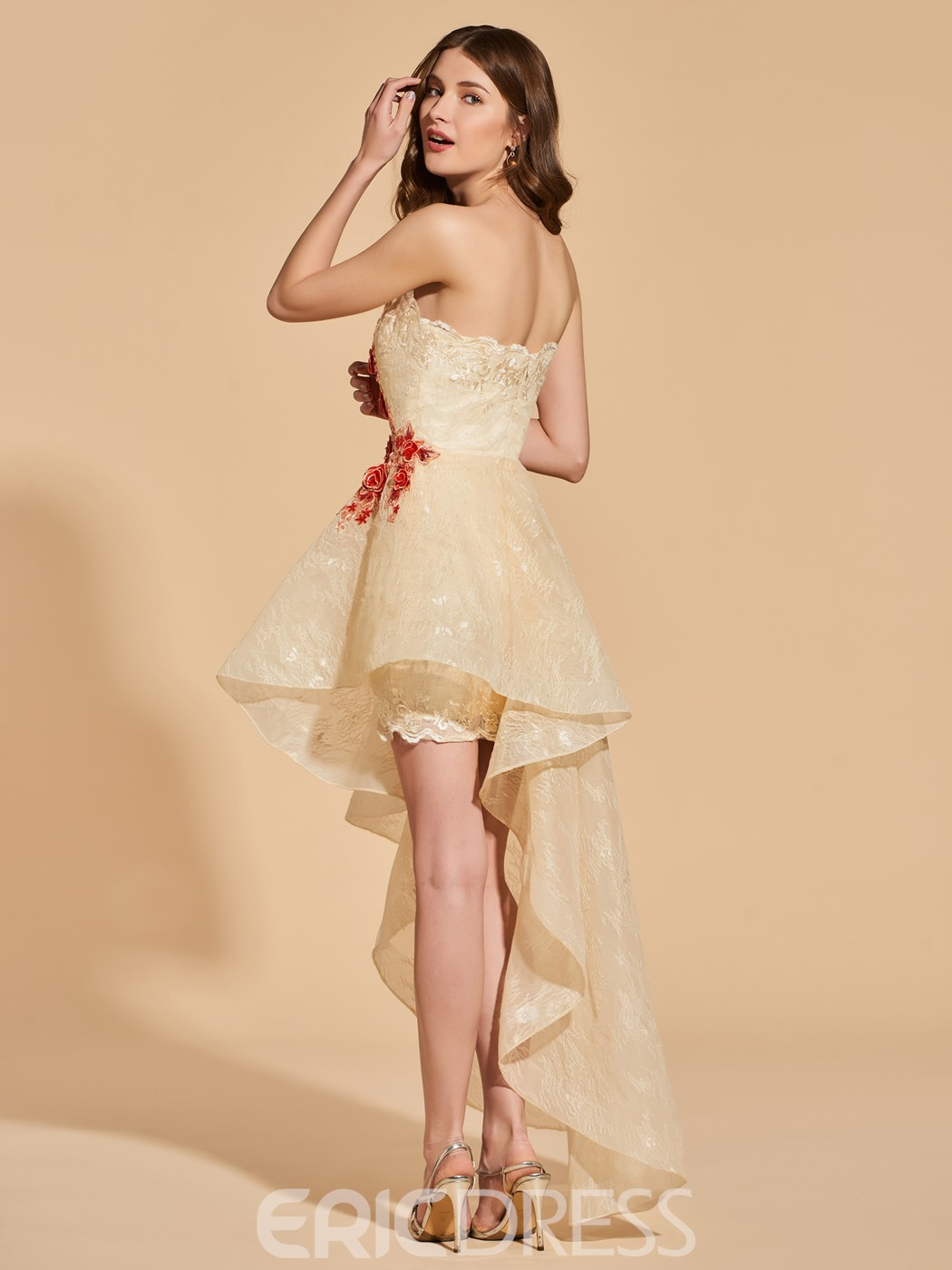 Ericdress A Line Strapless Asymmetry Lace Prom Dress