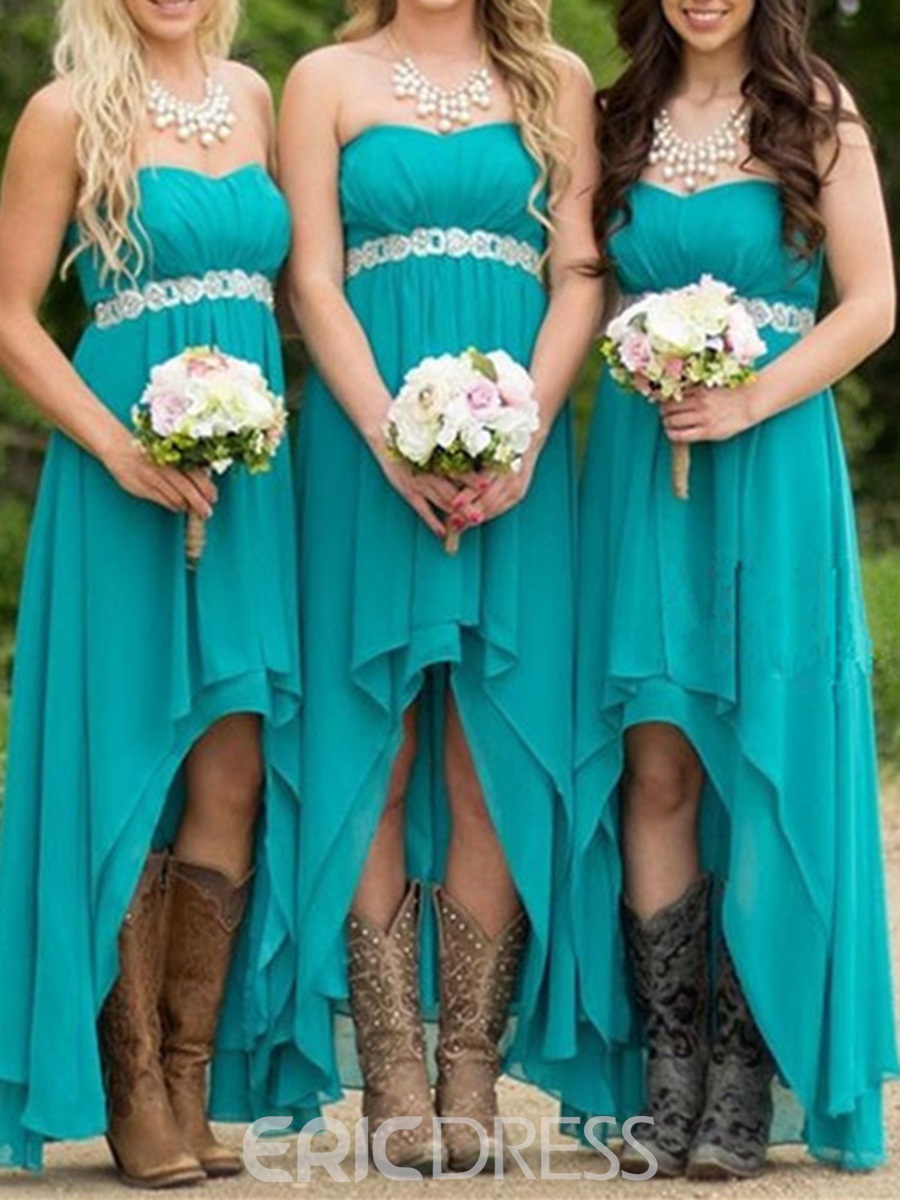Ericdress Sweetheart Beaded High Low Bridesmaid Dress