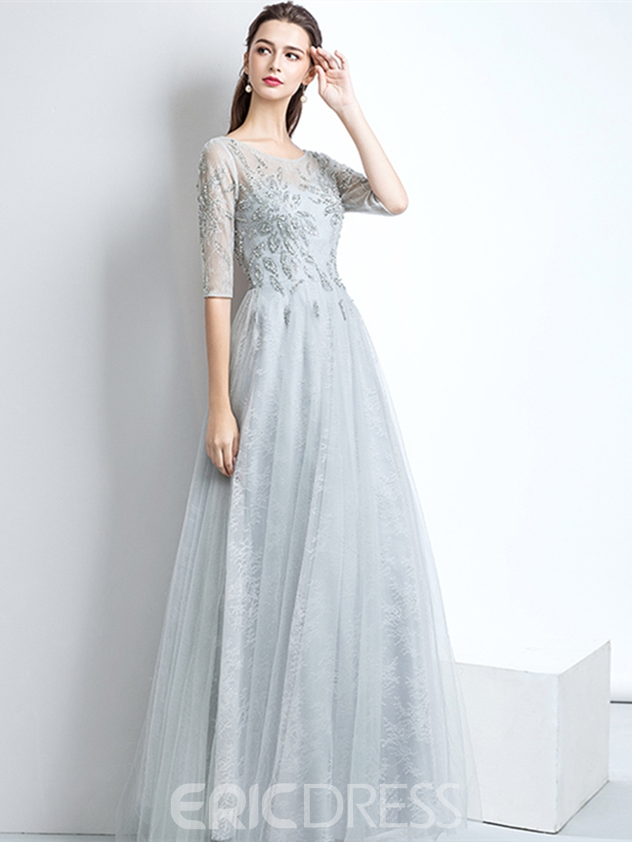 Ericdress Half Sleeve A-Line Beading Lace Prom Dress 13160785 ...