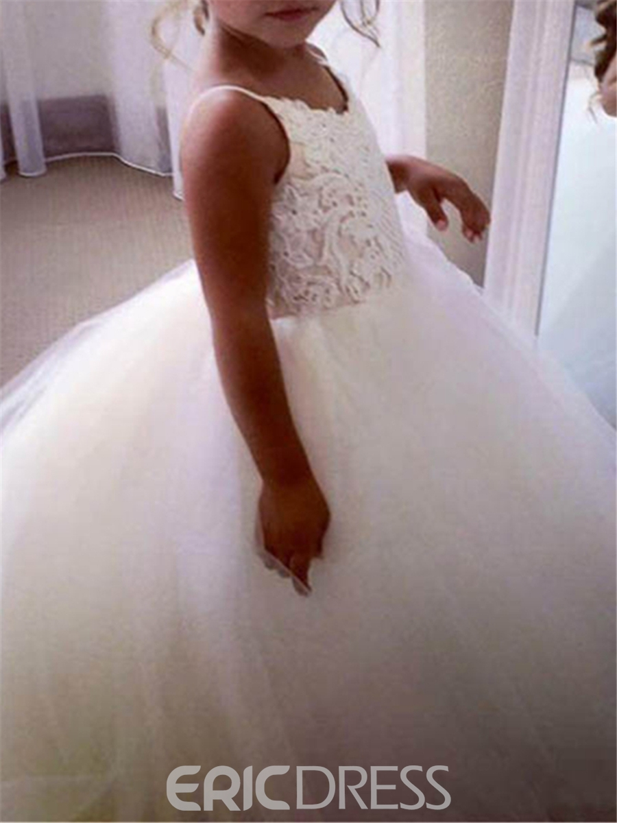 Ericdress Spaghetti Straps Appliques Ball Gown Tulle Flower Girl Dress