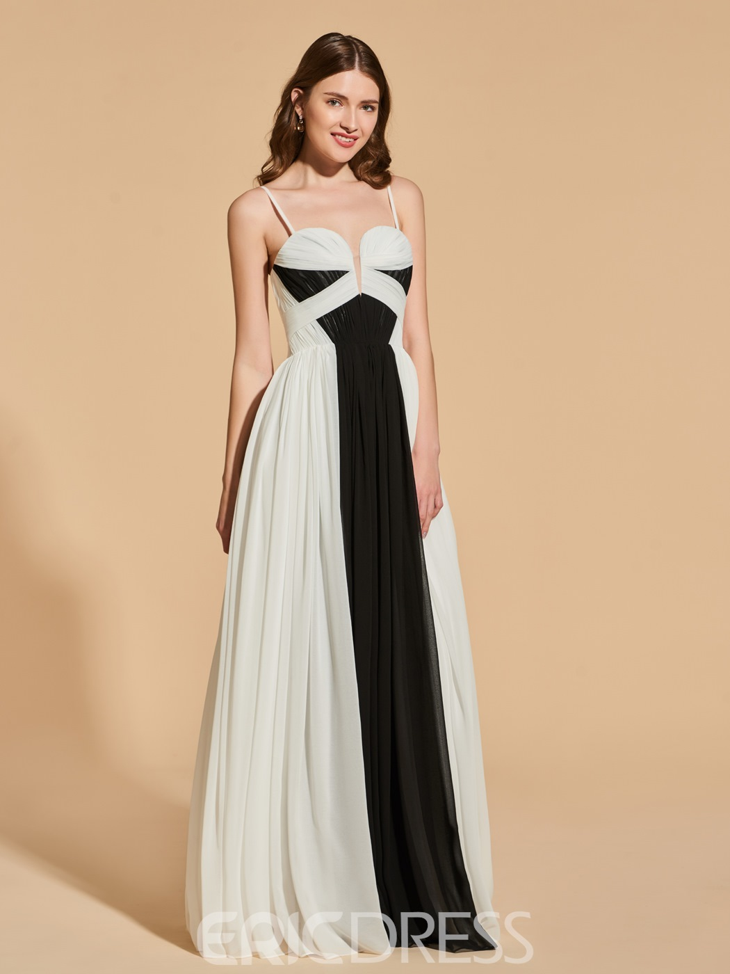 Ericdress A Line Spaghetti Straps Black And White Long Prom Dress