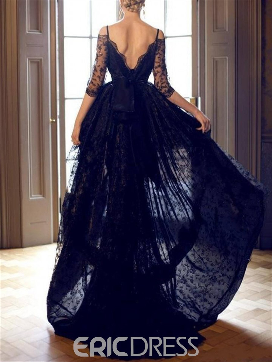Ericdress Half Sleeves High Low Black Lace Evening Dress Black Wedding Dresses