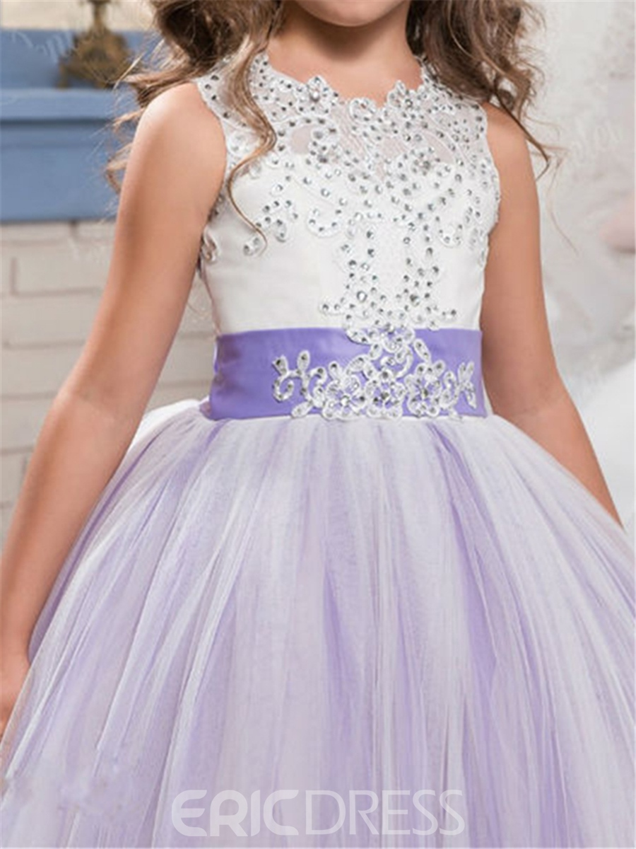 Ericdress Appliques Beaded Ball Gown Bowknot Flower Girl Dress