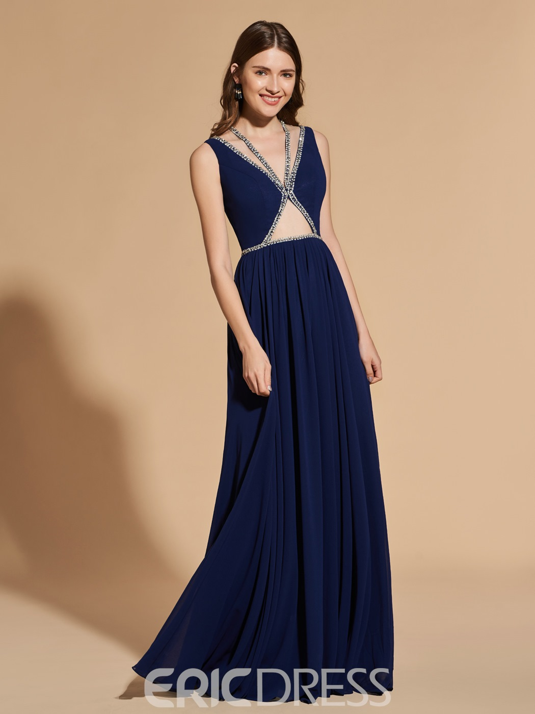 Ericdress A Line Deep Neck Long Prom Dress With Beadings