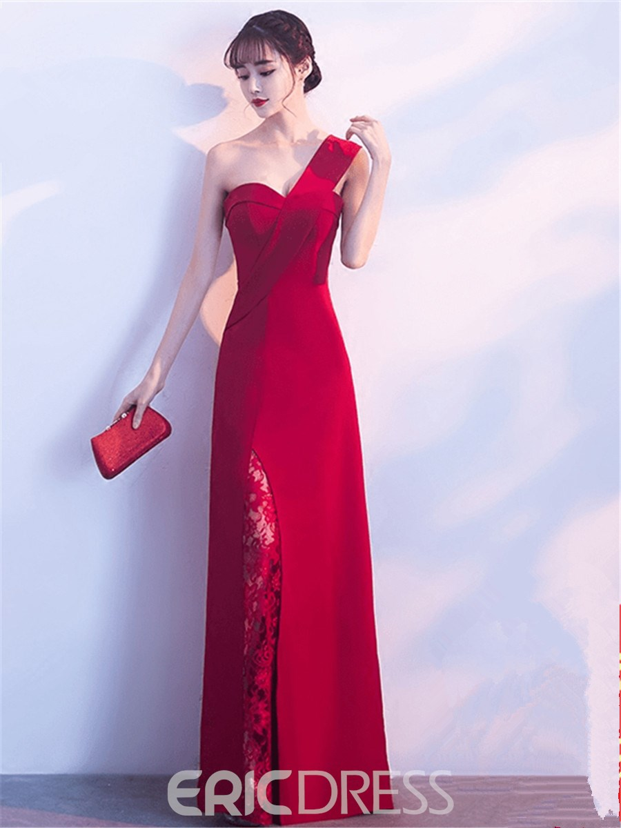 Ericdress Sheath One Shoulder Lace Slit Long Evening Dress