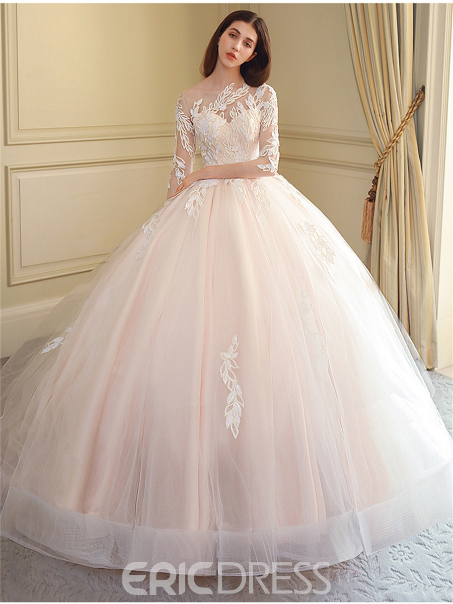 f23445a54bf0 Ericdress Appliques 3/4 Sleeves Wedding Dress With Train 13469942 ...
