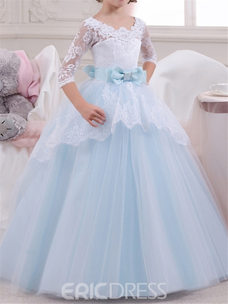 f87036ede2c Ericdress Scoop Half Sleeves Ball Gown Flower Girl Dress 12805560 ...