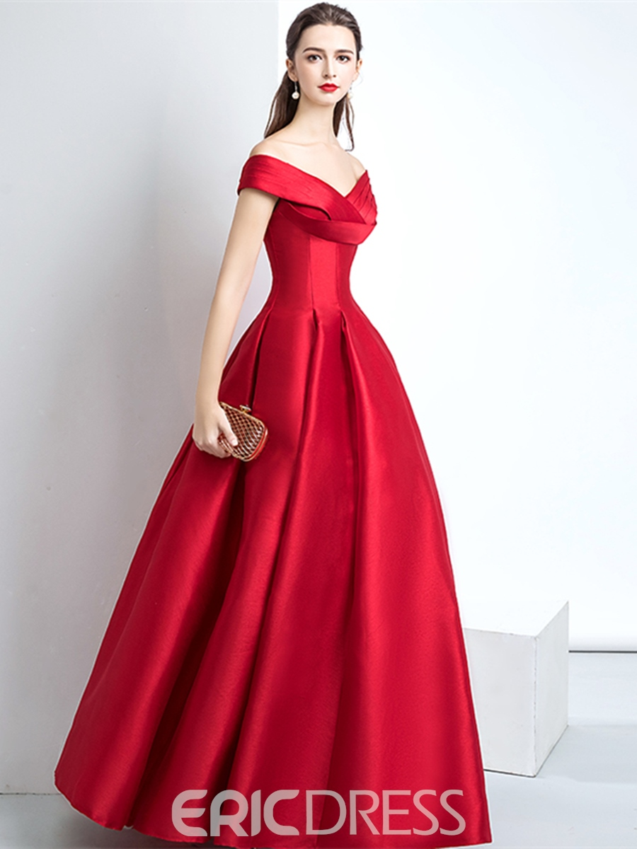 Ericdress A Line V Neck Off The Shoulder Prom Dress With Lace-Up Back
