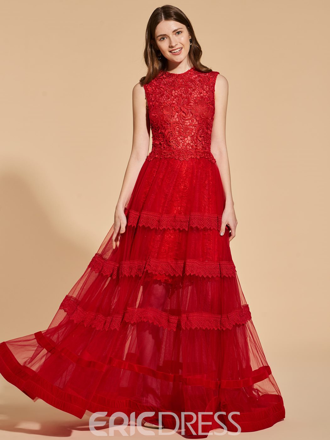 Ericdress A Line Scoop Neck Lace Long Prom Dress