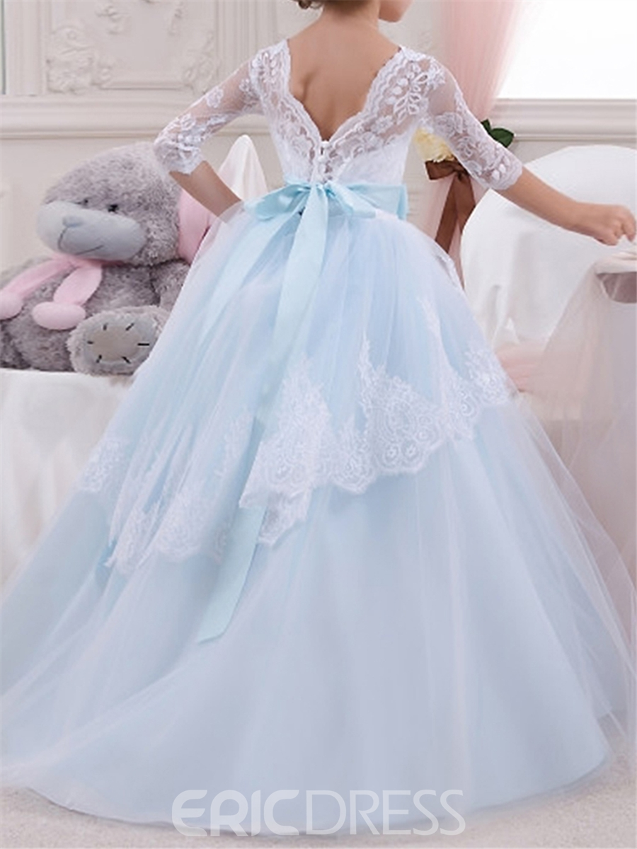 Ericdress Scoop Half Sleeves Ball Gown Flower Girl Dress