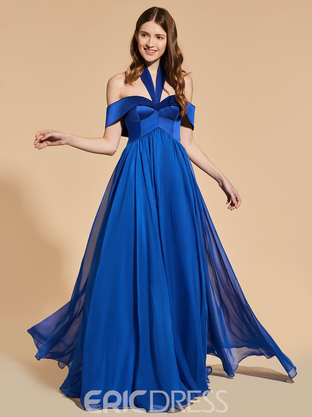 Ericdress A Line Halter Off The Shoulder Long Prom Dress