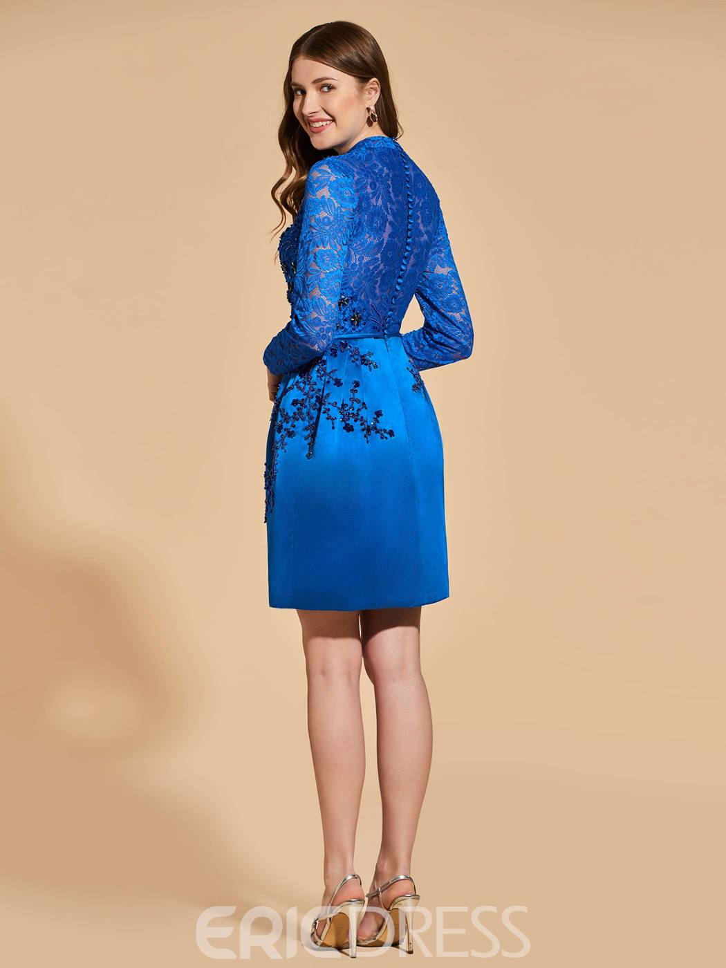 Ericdress Sheath Short Lace Long Sleeve Cocktail Dress With Beadings ...