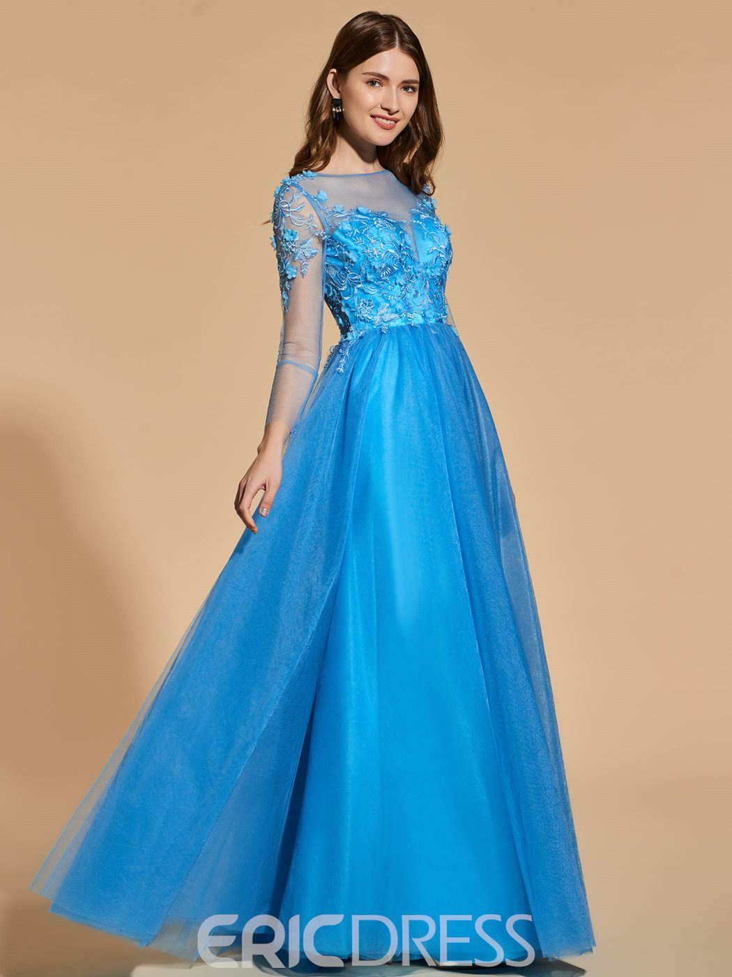 Ericdress A Line Applique Long Sleeve Prom Party Dress
