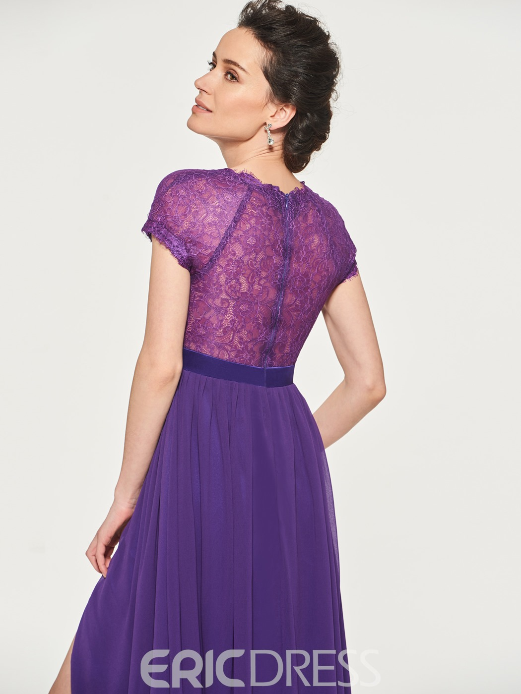 Ericdress Lace Short Sleeve Split-Front Mother Of The Bride Dress